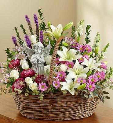 Heavenly Angel Lavender and White Basket