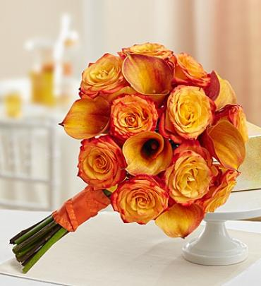 Golden Sunset Rose and Mini Calla Lily Bouquet